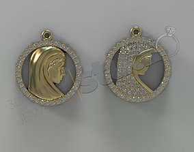 Holy Mary pendant with gems two versions 3d model