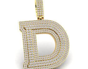 Custom 3D Initial D Letter Pendant
