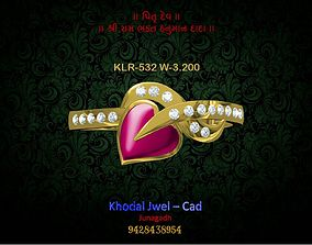 silver 3D model game-ready ladies ring