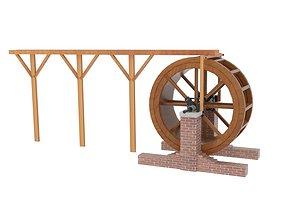 3D asset New Water Wheel