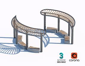 3D model wooden sunshade summerhouse bench 02