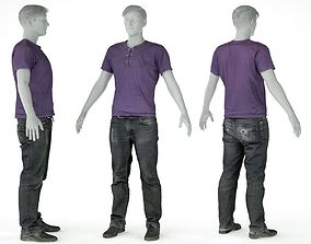 3D model Male Casual Outfit 14 Tshirt Pants Shoes