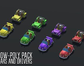 3D asset Low-Poly pack cars and drivers