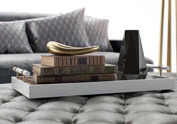 Furniture Visualization | Baker | Celestite Sofa and Ottoman