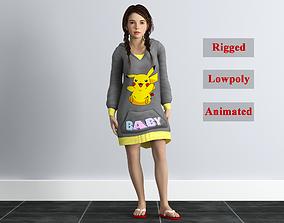 3D asset Rigged little girl