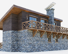 3D model Container cottage in the style of a Swiss chalet