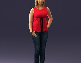 Woman in red dress 0039 3D Print Ready businesswoman