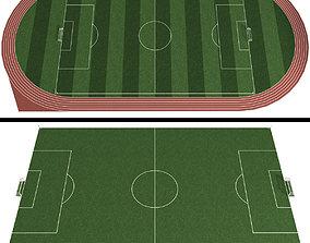 Soccer Field Football Stadium ground 3D model