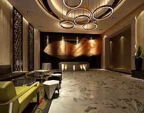 Lobby Hotel Banquet Hall Front Desk Sofa 3D