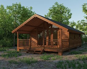 3D asset game-ready Small Wooden House For Nature Living