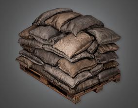 Military Sandbag Stack 01 - MLT - PBR Game Ready 3D asset