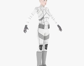 Sci-Fi Female Character in white 3D model