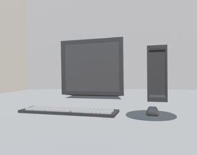 Old computer 3d model for game development
