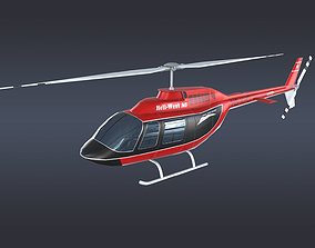 3D asset VR / AR ready Helicopter Bell 206