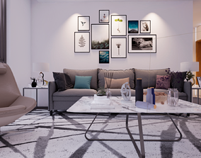 game-ready Living room Interior 3d unreal engine 4