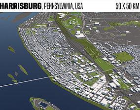 Harrisburg Pennsylvania USA 50x50km 3D model