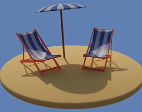 Low Poly Beach Scene 3D