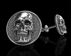 skull earrings studs 3D print model rock