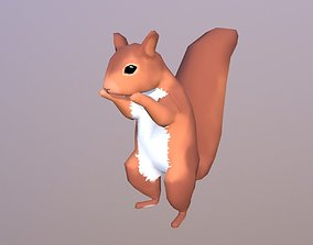 3D model rigged realtime Low-poly Squirrel