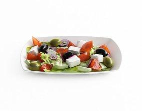 Greek Salad On A Plate 3D