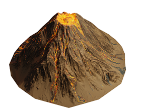 Stylized PBR Low Poly Vulcano 3D asset