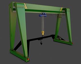 3D model PBR Single Girder Gantry Crane V2 - Green