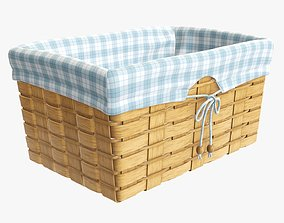 3D model Wicker basket medium brown with fabric interior