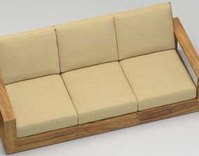 3D Wooden poolside sofa