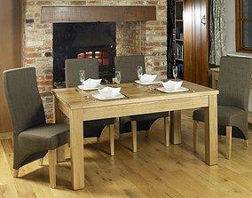 Deacon 7 - Piece Solid Oak Dining Set 3D model