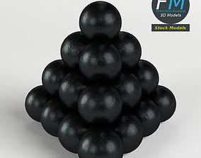 3D model Cannonballs stack 2