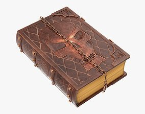 Old book in leather decorated 02 3D model