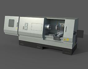 3D model CNC Lathe with panel