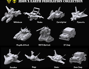 3D model Gundam Zeon X Earth Federation Space military