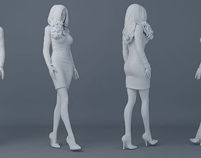 Office girl wearing uniforms 001 3D print model