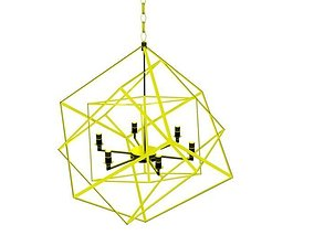 Golden Cubic Chandelier 3D model