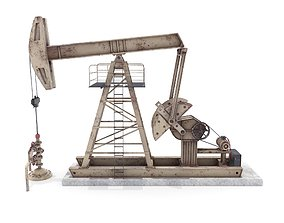 3D model Oil Pumpjack Animated Weathered 3