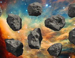 3D asset Asteroids - Set of 10 unique variations