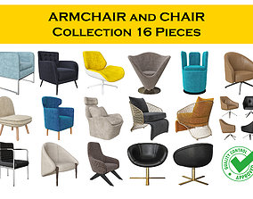 Chair and Armchair Collection 16 pieces 3D model