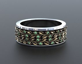 Delicate wedding ring with leaves and 3D printable model