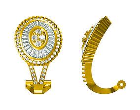 3D print model Gold hoop earrings baguette cut diamond