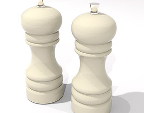 3D asset salt and pepper grinder cream ceramic