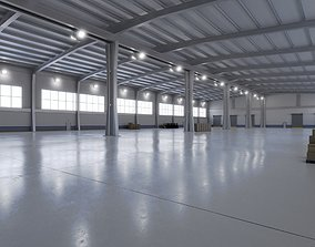 3D asset Industrial Warehouse Interior 9