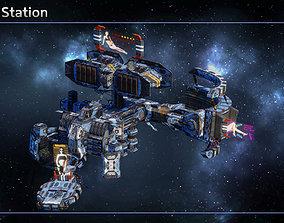 Modular Pirate and Smuggler Space Station 3D asset