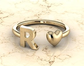 3D print model Alphabet Jewelry with Heart Ring R