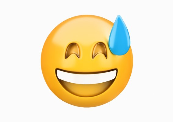 Emoji Grinning Face with Sweat 3D model