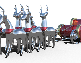 Santa Claus sleigh Reindeer 3D model