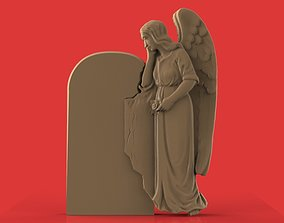 memorial tombstone with angel cnc model