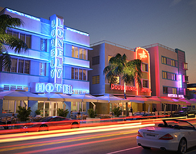 Modern city commercial street night view 3D model