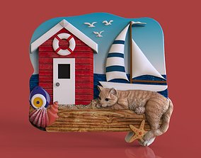 Cat and beach themed model