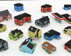 Low Poly Buildings Suburb 3D model